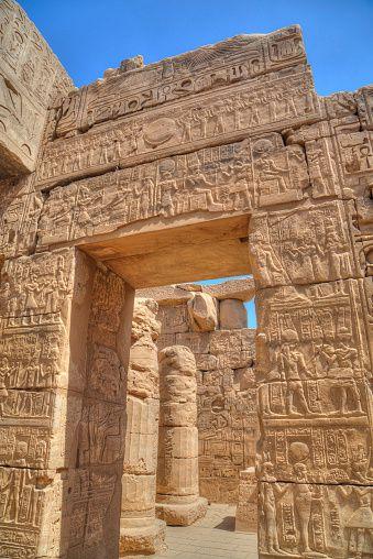 Puerta en el Templo de Khonsu, Templo de Karnak, Luxor, Tebas, Patrimonio de la Humanidad de la UNESCO, Egipto,