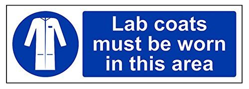 Cheap VSafety 41076AX-S Lab Coats Must Be Worn In This Area Mandatory PPE Sign Self Adhesive Landscape 300 mm x 100 mm Blue deals week