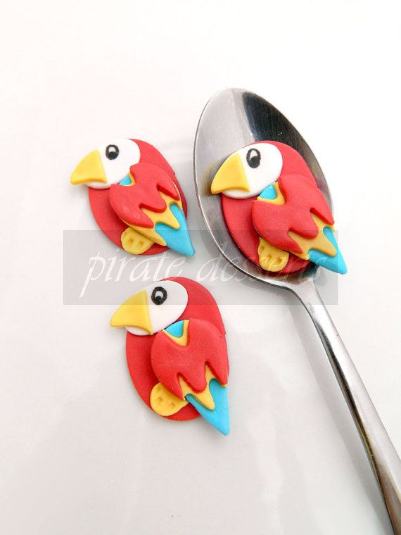 Edible Cupcake toppers Pirate Captain's Polly parrot - Fondant Treasure Island themed cupcake decorations Pirate Cupcake (3 pieces) on Etsy, $12.00