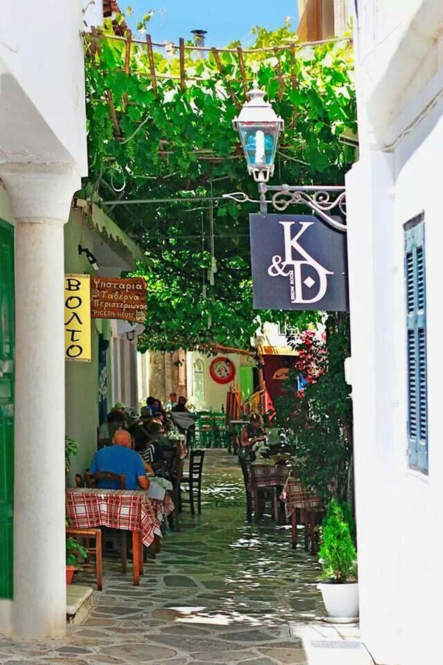 Tinos island.... little alley Taverna / GREECE