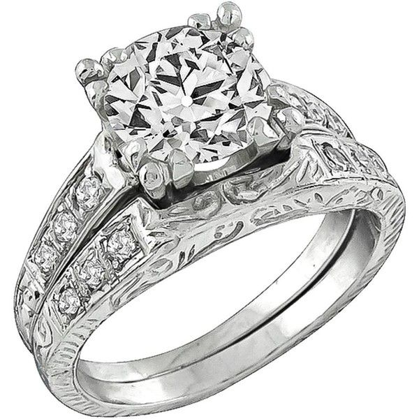 preowned antique diamond platinum engagement ring and wedding band set 14950 liked on - Preowned Wedding Rings