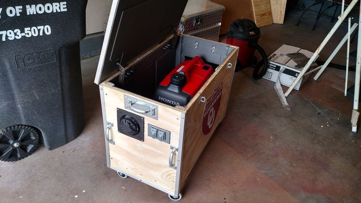 Portable generator baffle (quiet) box. Fan cooled, sound deadener, casters, hinged lid, handles, exhaust hood. See more! https://www.youtube.com/channel/UCcP0IvAAgkMMmPox5d-NM1A?view_as=public