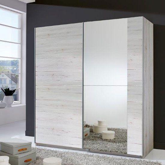 Stripe 2 Door Sliding Wardrobe In White Oak With Mirrored Door