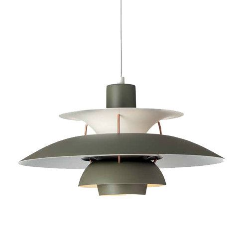 The Louis Poulsen PH 5 Pendant represents the original design from Poul Henningsen. The PH 5 consists of three reflecting shades that illuminate the lamp downward and laterally, creating 100% glare-fr