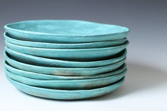 85 Matte Turquoise Stoneware Ceramic Shallow by VitreousWares, $55.00