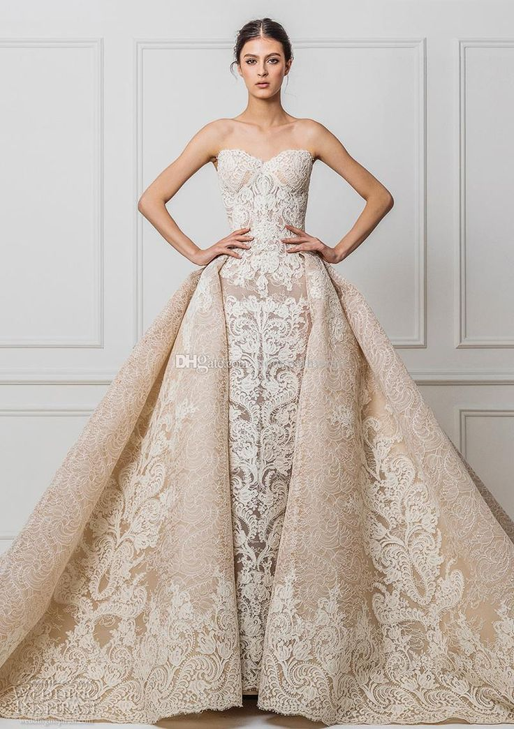 Datchable Royal Train Champagne Lace Wedding Dresses 2017 Maison Yeya Bridal Gown Sweetheart Neckline A Line Princess Wedding Gowns Gown For Wedding Gowns For Wedding From Gonewithwind, $804.03| Dhgate.Com