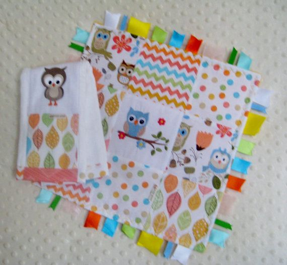 Burp cloth and 12 inch ribbon trim patchwork lovie by PixieRiver