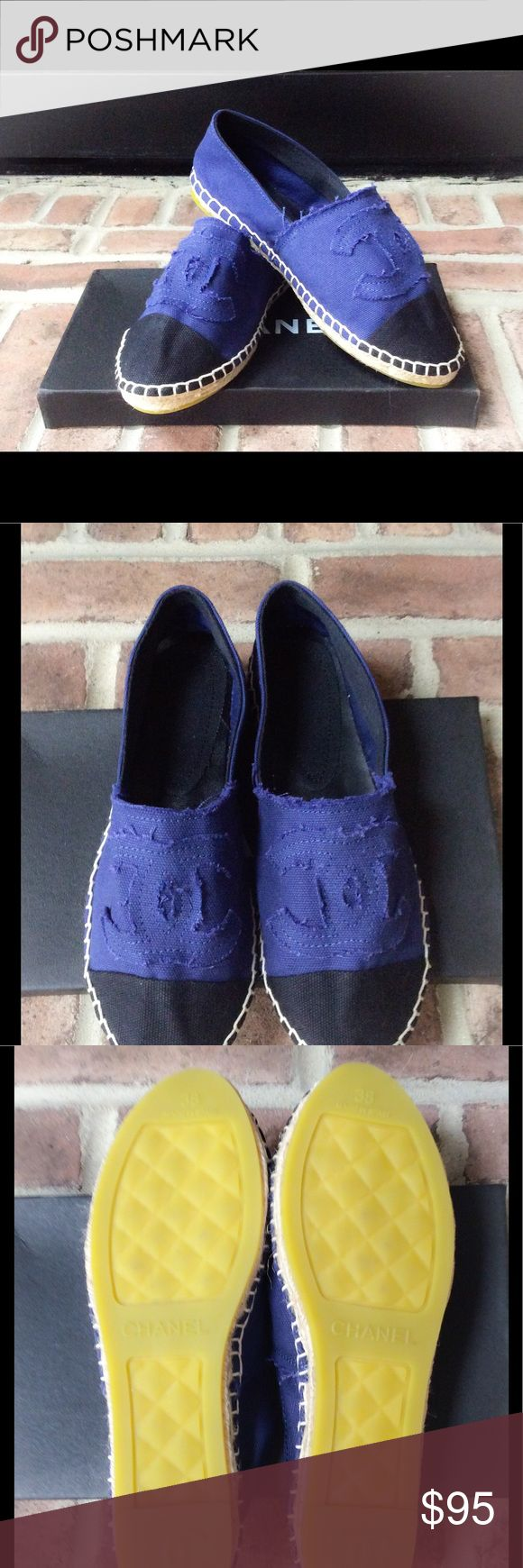 Espadrilles NWOT Canvas INSPIRED Chanel espadrilles, fits 6- 6 1/2. Bright blue with black tip. Measures 8 1/2 please measure foot before purchase. I am a 6 and narrow foot they are a bit big on me. 🚫NO TRADES 🚫NO LOWBALLS Each has its own dust bag but no box. Bags Shoulder Bags