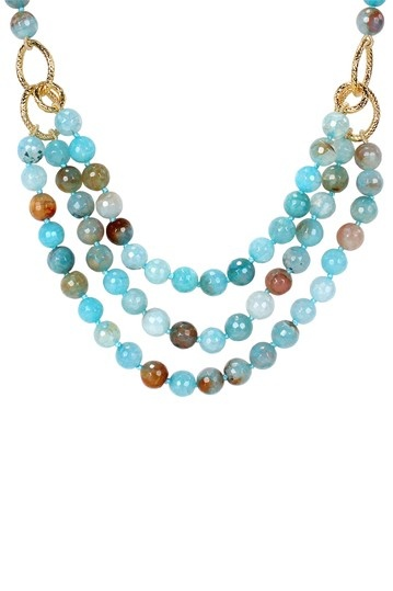 Aqua Blue Agate Beaded Triple Strand Necklace