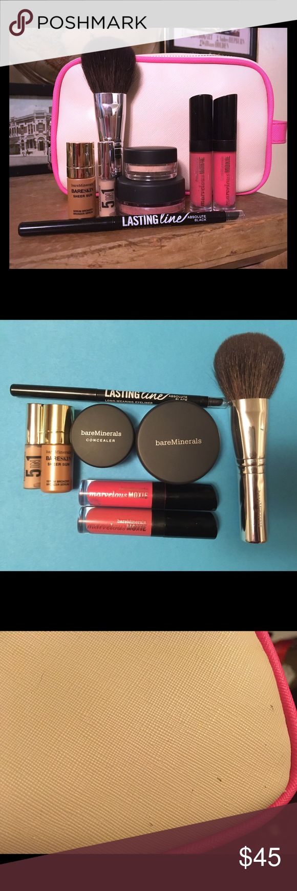 GREAT 🎁! BareMinerals Ultimate Holiday Bundle! One amazing makeup bag with eight new products and a full size brush! Comes with a large two zippered pocket makeup bag (there is a little imperfection which is in the third picture and a dark mark on the inside of one of the pockets). Includes NWT products: two Marvelous Moxies travel size lip glosses, a full size blush in Flair, concealer in Summer Bisque, full size Lasting Line eyeliner in Absolute Black, a full size Full Flawless Face…