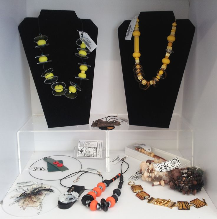 Restocked at The Artisan Store yesterday (1st Feb 2017).  Jewellery made from a variety of materials: beads, Perspex, Laminex, Formica, watch parts and fibres.  Something for everyone.