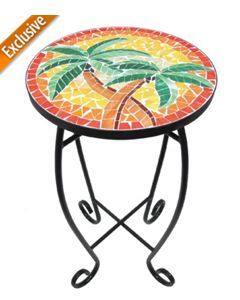 Palm Island Double Palm Tree Mosaic Accent Table