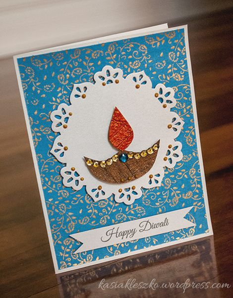 Diwali card - so pretty. Love the paper doily effect