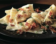 """{mains} pumpkin """"ravioli"""" tossed with bacon & parsley (i'd probably still make the ravioli with actual pasta, though)"""