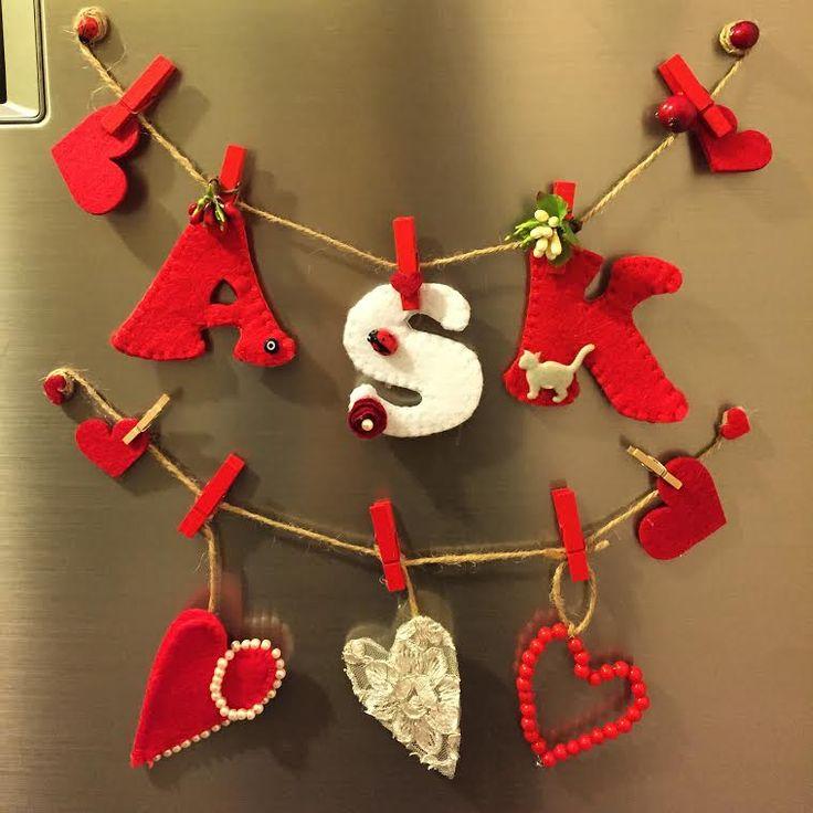 magnet, keçe magnet, aşk, aşk magnet, kalpli magnet, buzdolabı süsü, keçe, felt, feltro