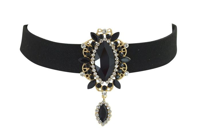 Victorian Gothic black velvet with Crystal Pendant choker necklace
