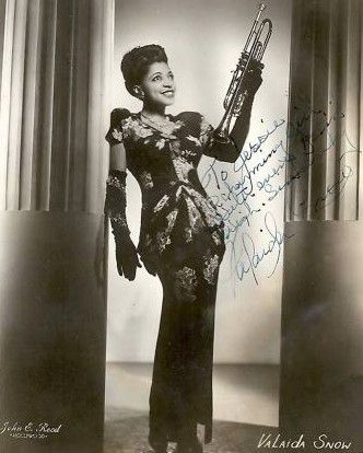 Valaida Snow (1903-1956) Black female trumpeter, leader of all girl band. While touring in Europe captured by the nazi's and detained in concentration camp for two years.: