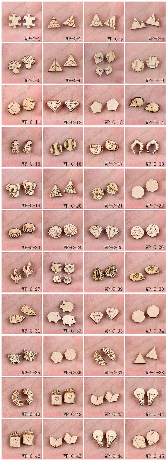 4Pcs All Design DIY Laser Cut Wood Cute Geometric Round Charms / Pendants