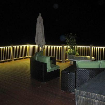 deck lighting - light up with LED tape lighting or LED rope lighting!