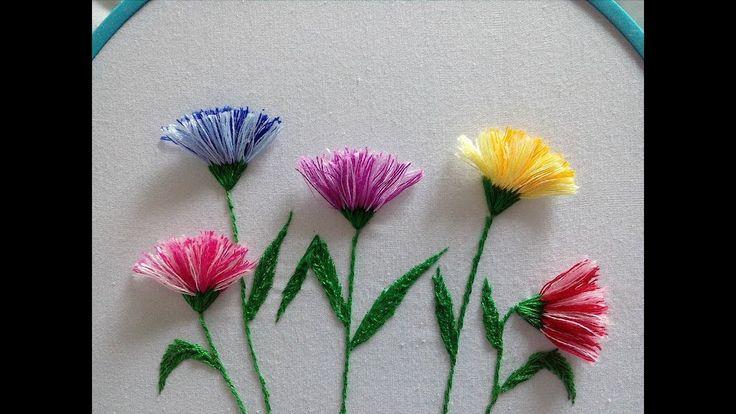 Cómo bordar flores con flecos - paso a paso