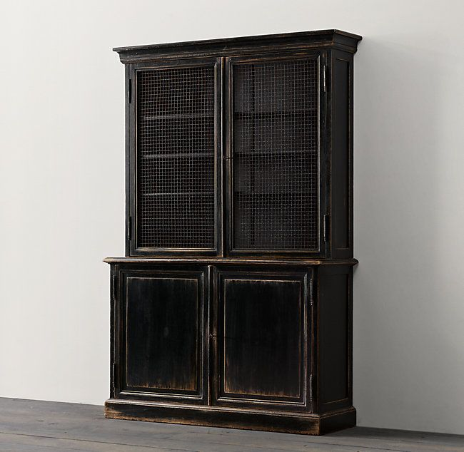 RH's 19Th C. English Notary Bookcase:A bookcase used to house deeds and legal certificates for a 19th-century English notary public inspired our steadfast reproduction. The walnut original was fitted with iron mesh and hand-rubbed to a polished ebony, as ours is today.