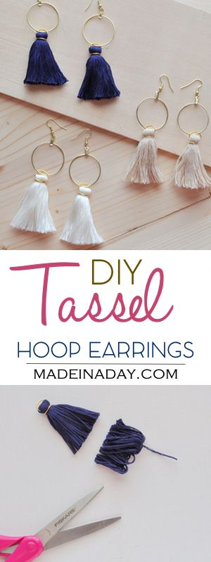 DIY Hoop Tassel Earrings, Learn to make super trendy tassel earrings! Tassel hoops, gold hoop, Anthro hack, tutorial on madeinaday.com