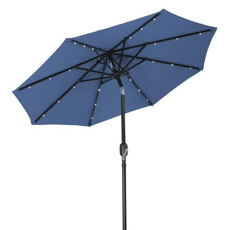 Trademark Innovations Polyester 7 Foot Solar LED Patio Umbrella (Blue),  Size 9