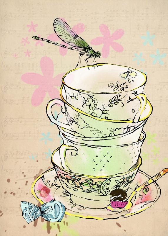high tea: Teas Time, Teas Cups, Teacups3D Character, Art Prints, Teas Illustrations, Afternoon Teas, High Teas, Vintage Teas Party, Teas Art