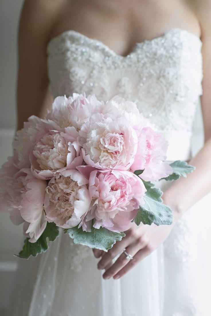 Pink Peony Bouquet | On SMP: http://www.StyleMePretty.com/illinois-weddings/2014/03/04/inverness-illinois-family-backyard-wedding/ Lark Wedding Photography