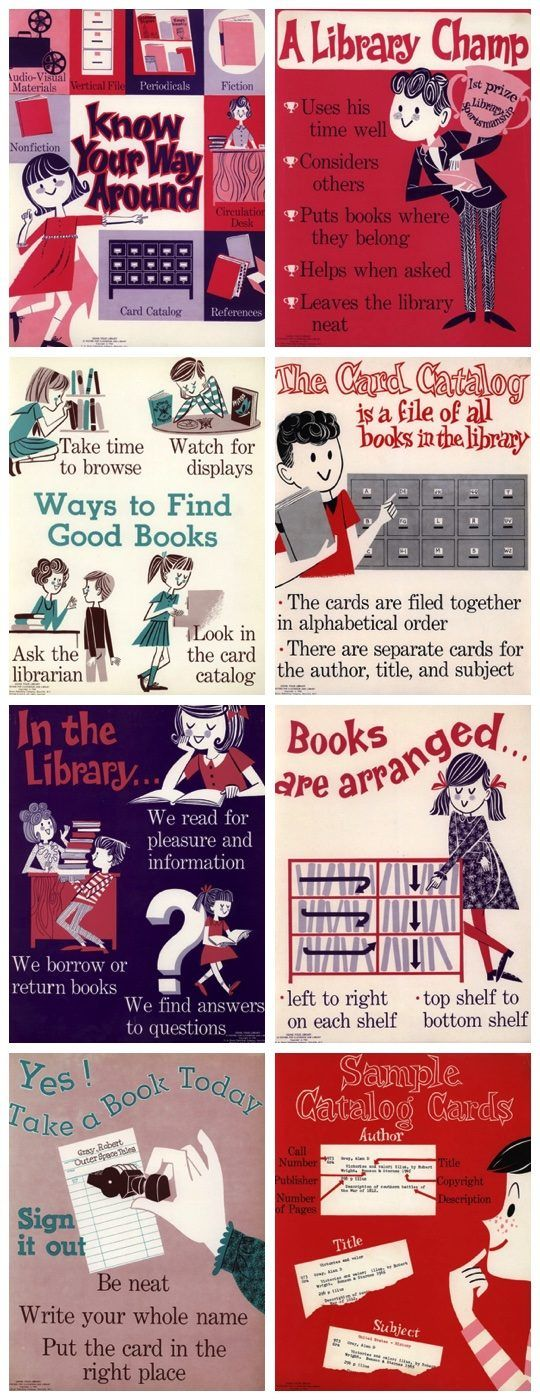 A collection of vintage #posters that teach how to use the #library