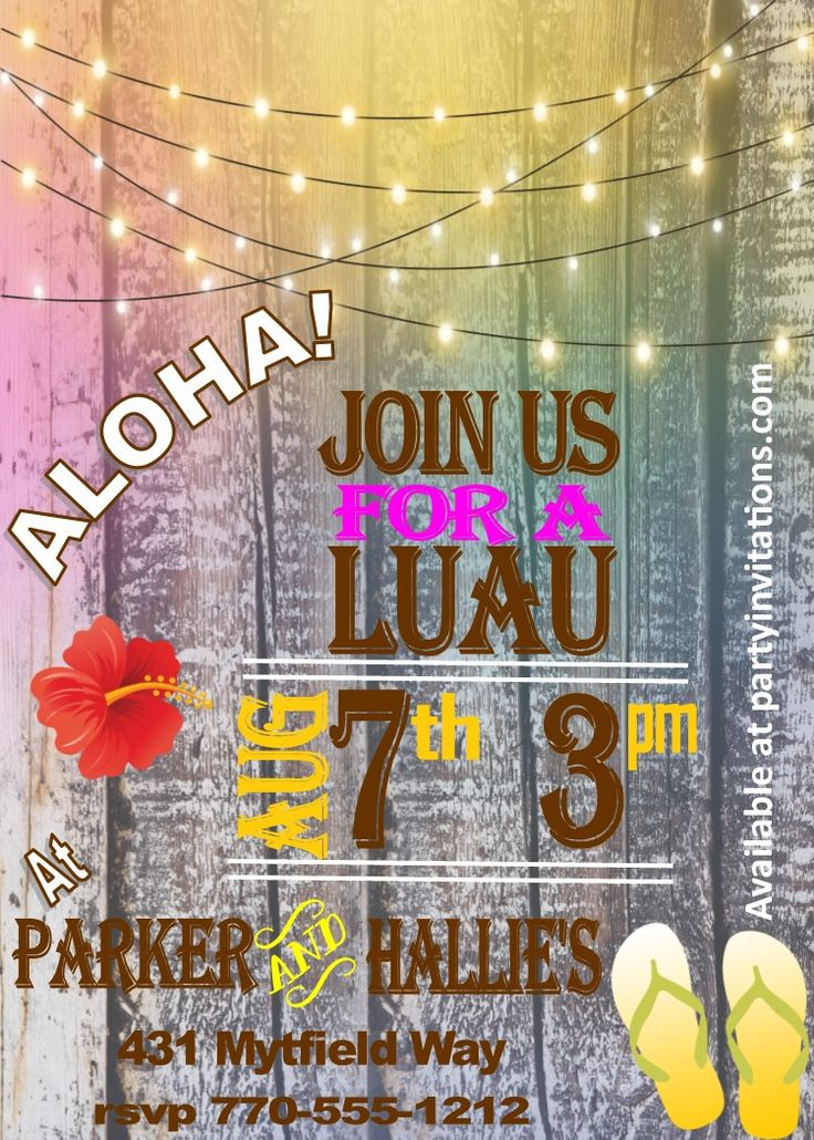 luau wedding invitation templates%0A Ride the Wave luau party invitations