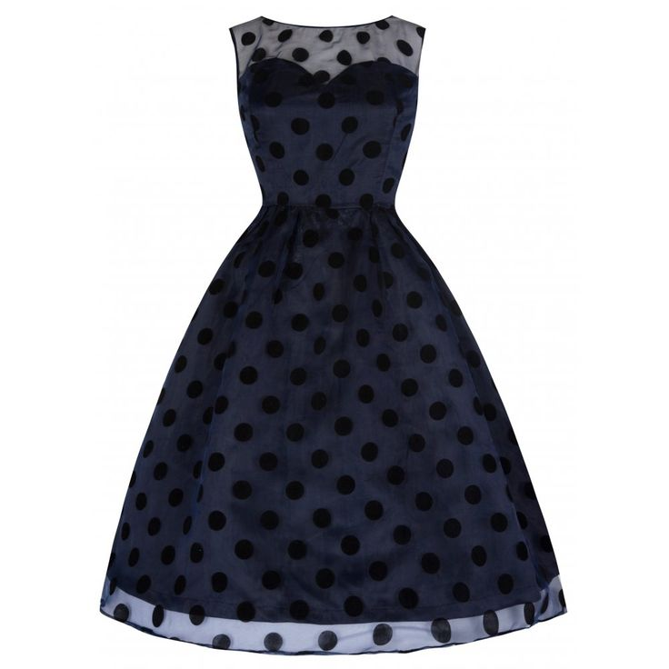 'Eve' Alluring Sheer Midnight Blue Polka Dot 50's Prom Party Dress