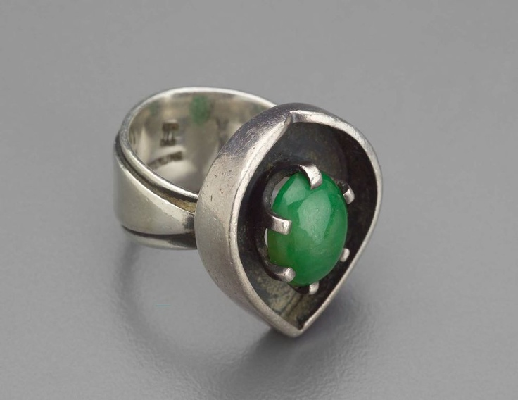 Ring | Ed Wiener.  Silver and green stone.  ca. 1950s