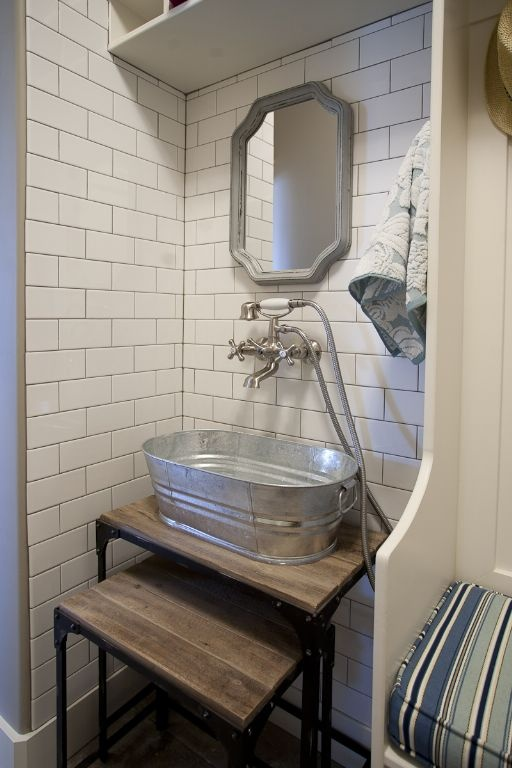 Laundry Wash Basin from the DIY Blogger House. Must Have.: Laundry Sinks, Subway Tile, Mud Rooms, Google Search, Laundry Rooms, Cool Ideas, Basements Bathroom, Design Schools, Galvanized Laundry