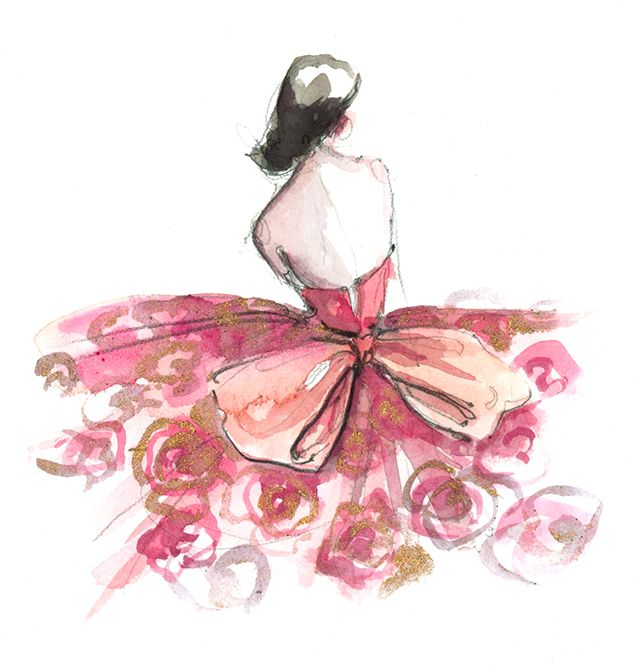 Fashion Illustration. Pink Dress. Tied with a Bow. Girly. Feminine. Sweet. Love. Pretty in Pink.