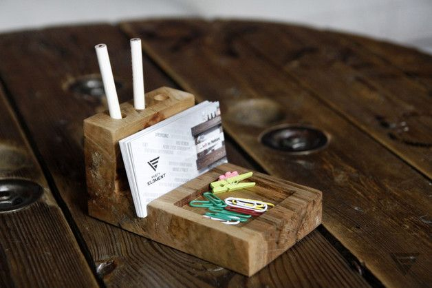 Biurkowy Organizer - drewno z odzysku - PiatyElement - Pozostałe