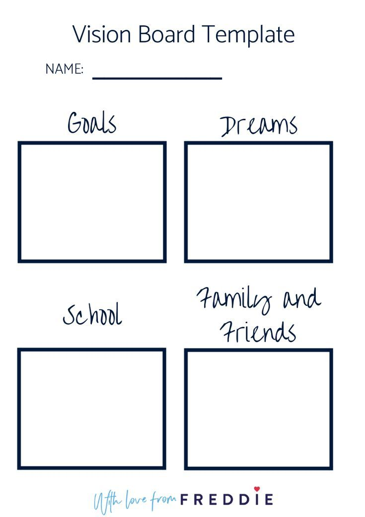 Vision Board Template For Older Students Use This To Help Your Students Manifest Their D Vision Board Template Middle School Counseling High School Activities