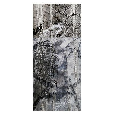 """""""Triptych III"""", mixed media abstract painting and drawing on matte natural python skin by New York City artist Jake Blake.  Blake uses an austere palette of black, white, and grey combining bold brush strokes, heavy layering, and deft, elegant drawing to create depth."""