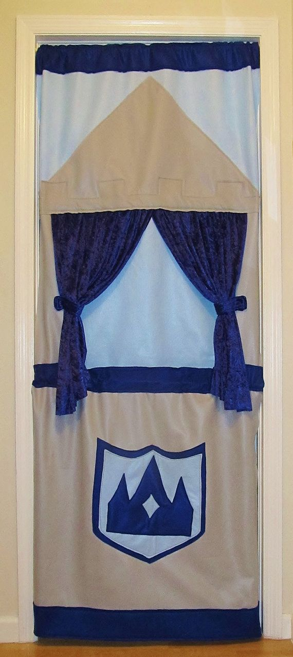 Royal Blue and Gray Felt Puppet Doorway Theater