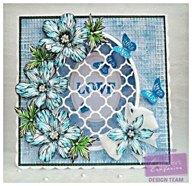 Dream Laine: Anemone Sparkle Card. Spectrum Noir Sparkle pens: Moonstone, Moonlight, Soft Jade, Aquamarine, Holly Leaf, Blue Topaz. Sheena Douglass Perfect Partners Victorian Floral - Anemone A6 Rubber Stamp Set. Sara Davies Signature Butterfly Lullaby Collection - Just For You Stamp Set Sara Davies Signature Floral Delight Collection- Ornate Trellis Textures 8x8 Embossing Folders - Hessian Embossing Folder - Destinations CD-ROM - for papers - #crafterscompanion