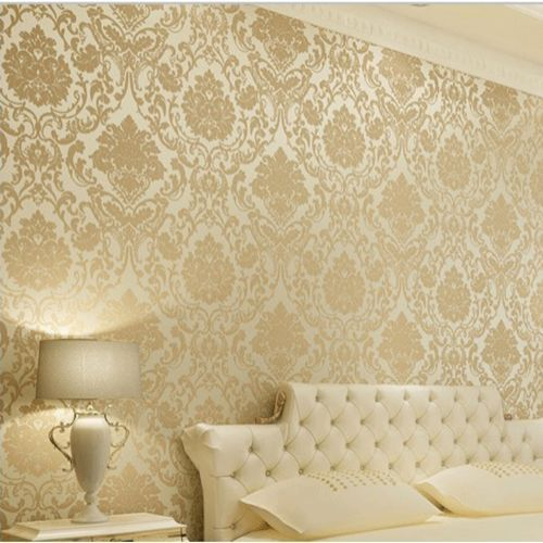 Wall paper wallpaper roll damask embossed feature 3d for Gold wallpaper for walls