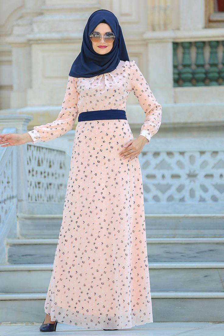 Neva Style - Desenli SomonTesettür Elbise 76935SMN