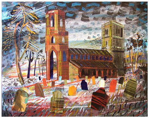Wymondham Abbey, collage by Ed Kluz via St Jude's Prints