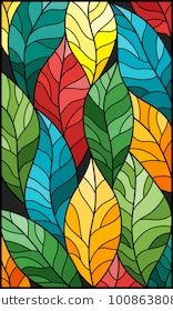 Illustration in stained glass style with colorful …