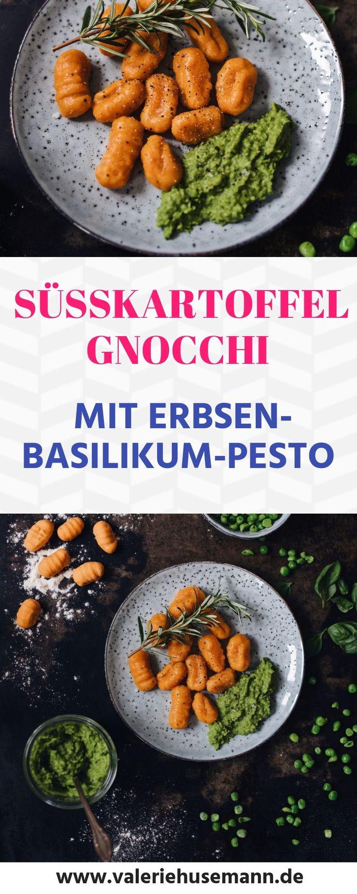 Selbstgemachte vegane Süßkartoffel Gnocchi mit Erbsen-Basilikum-Pesto, …