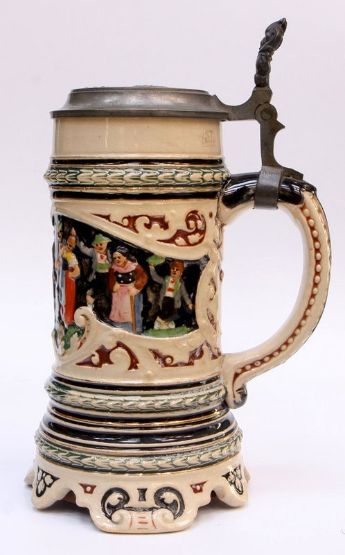 German Musical Pottery Stein