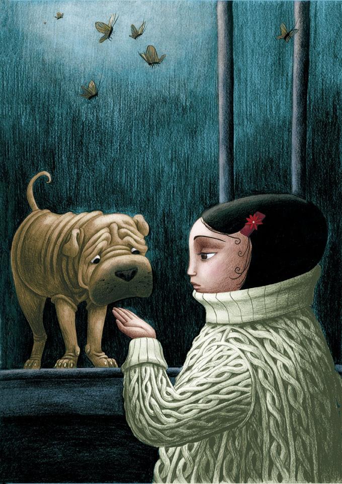 La pequeña Cereza de Benjamin Lacombe habla con su perro Guinda. Cereza Guinda es uno de los primeros álbumes ilustrados de Lacombre y una de las últimas apuestas de Edelvives, la editorial de literatura infantil y juvenil que ya lleva una larga trayectoria de colaboración con este autor de prestigio internacional.