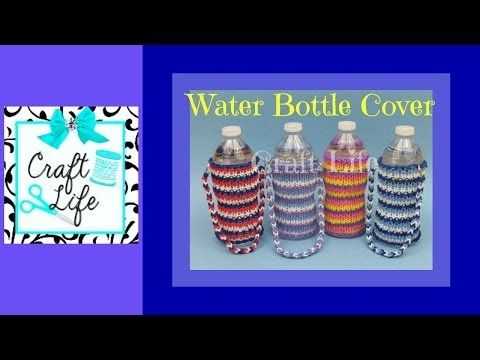 Rainbow Loom WATER BOTTLE COVER (1 loom). Designed and loomed by Jacy at Craft Life. Click photo for YouTube tutorial. 05/30/14.