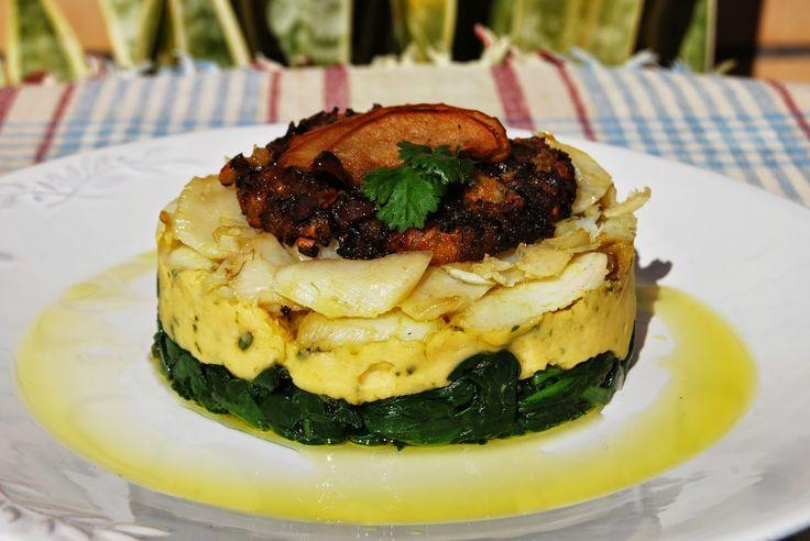 Deliciosa paparoca: Bacalhau com puré de grão e crocante de chouriço mouro com maçã