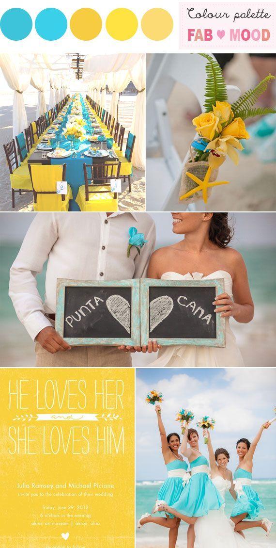 beach wedding idea, aqua yellow wedding,aqua yellow beach wedding idea